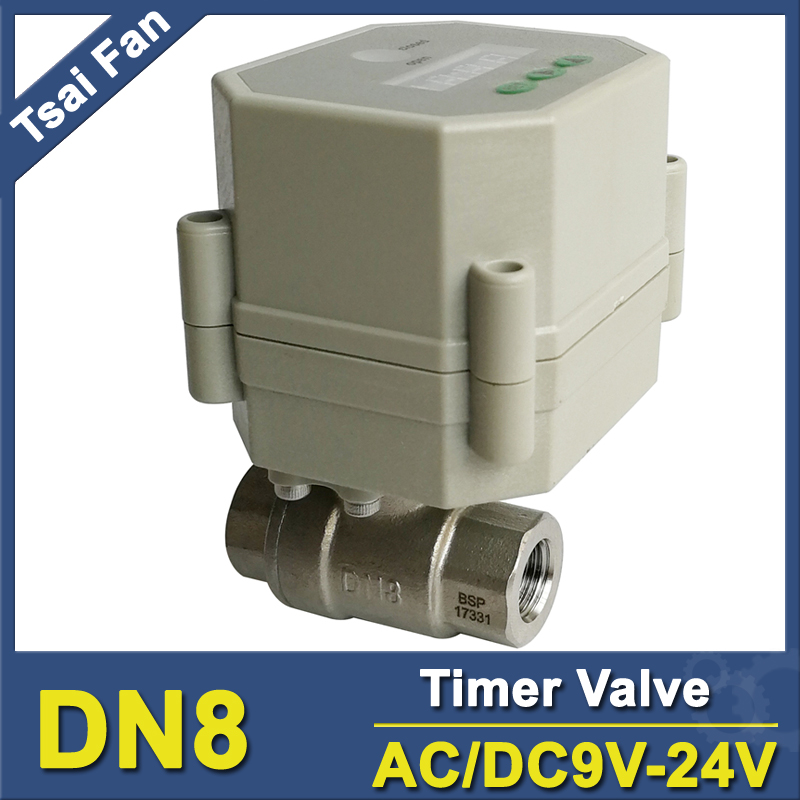 Tsai Fan AC/DC9-24V motorized time valve BSP/NPT 1/4'' SS304 timer controlled valve for water control systems ac110v 230v bsp npt 1 2 time controlled motorized ball valve for garden air compressor drain water air pump water control