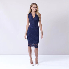 2018 New Arrival Fashion Sleeveless Bandage Dress Elegant Blue Black Bodycon