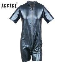 Mens Black Patent Leather Wetlook Front Zipper Catsuit Bodysuit Jumpsuit Clubwear Lingerie Sexy Gay Men S