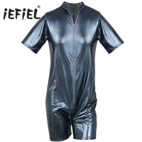 iEFiEL Mens Black Patent leather Wetlook Front Zipper Male Catsuit Bodysuit Jumpsuit Clubwear Lingerie Sexy Gay Men's Costume