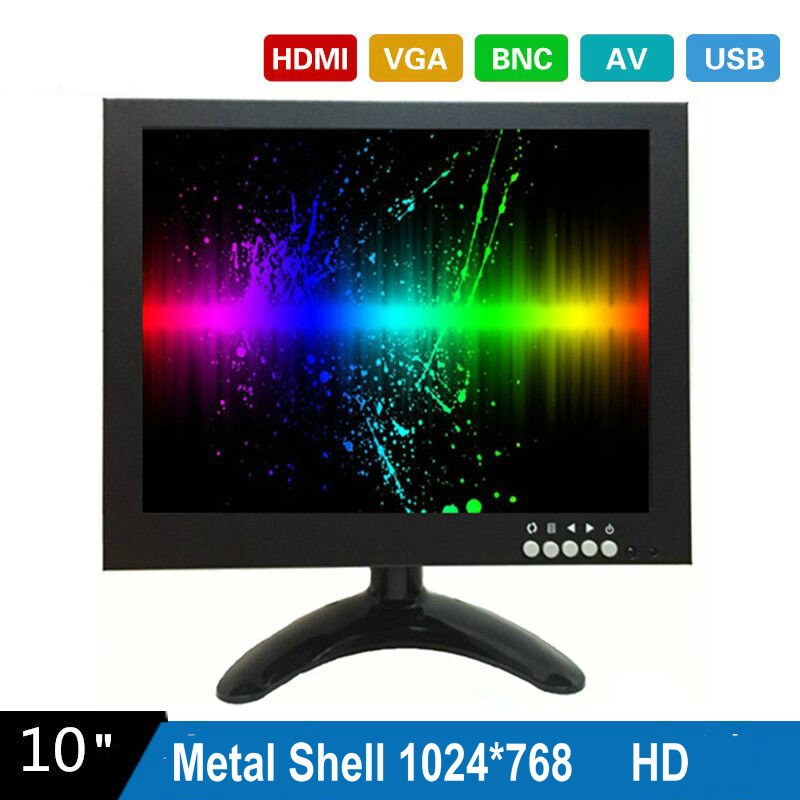 10 Inch 1024X768 HD CCTV Monitor with Metal Shell & HDMI VGA AV BNC Connector for PC & Multimedia & Donitor Display & Microscope aputure digital 7inch lcd field video monitor v screen vs 1 finehd field monitor accepts hdmi av for dslr
