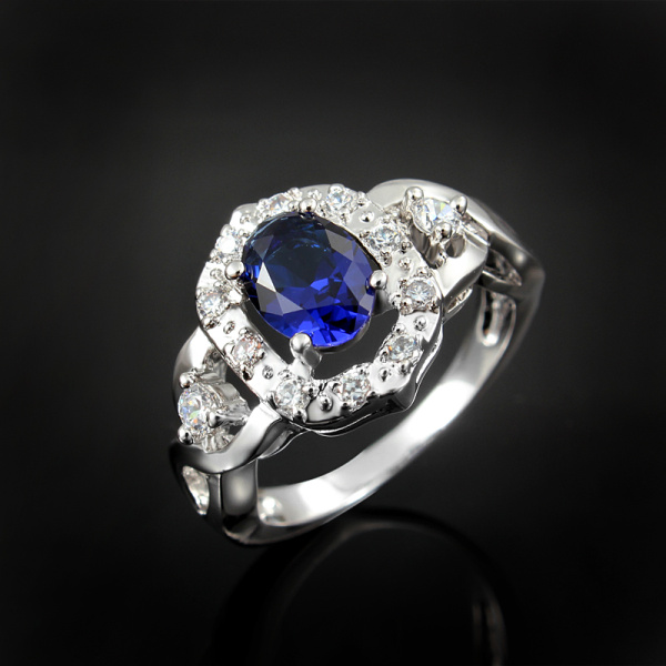 Red Blue Stone : Color red blue white stone paved silver ring for