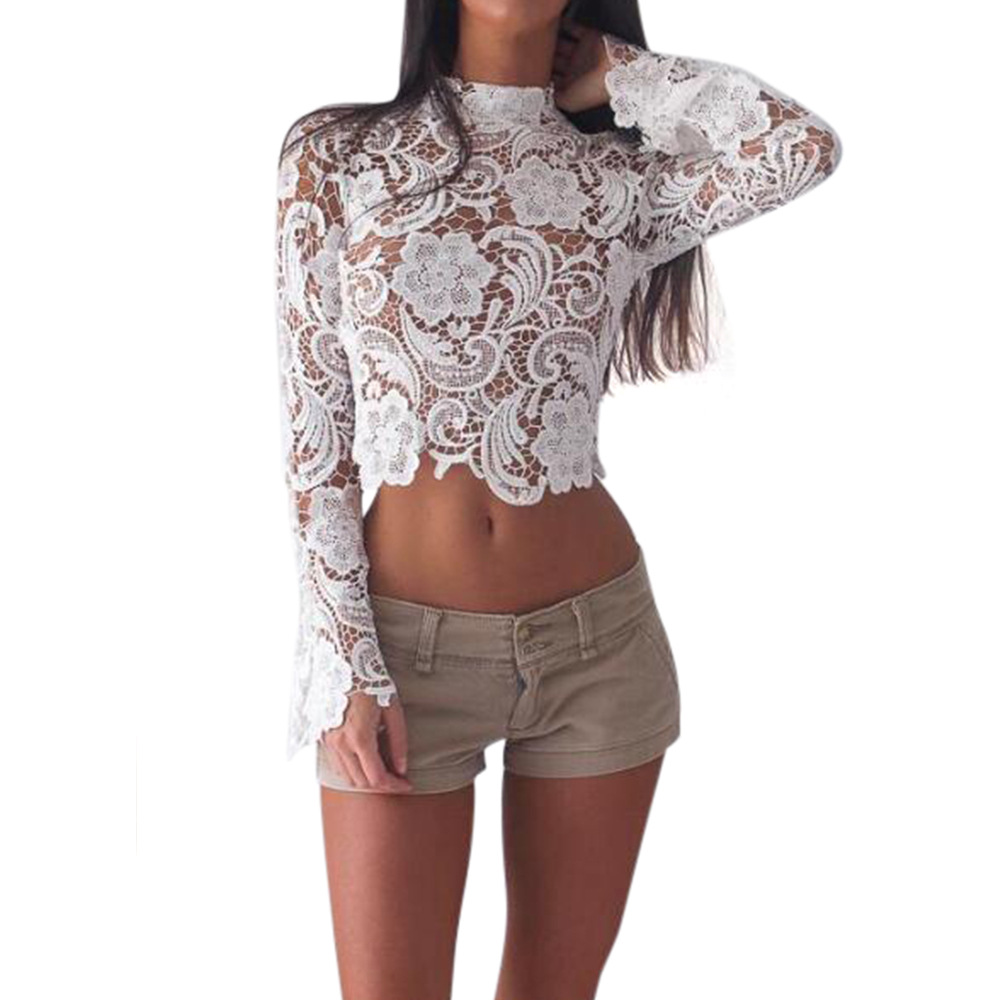 white lace crop top floral embroidery long sleeve o neck t. Black Bedroom Furniture Sets. Home Design Ideas