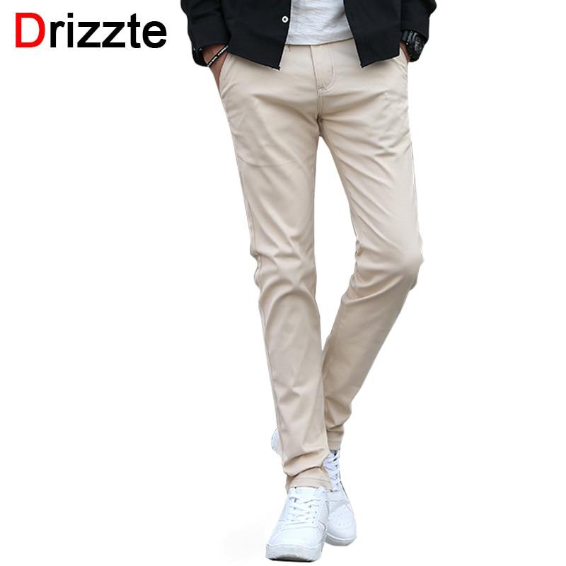 цена Drizzte 7 Colors Mens Soft Slim Fit Stretch Cotton Casual Chino Pants Jean Khaki Black Beige Red Grey Trousers 32 33 34 36 онлайн в 2017 году