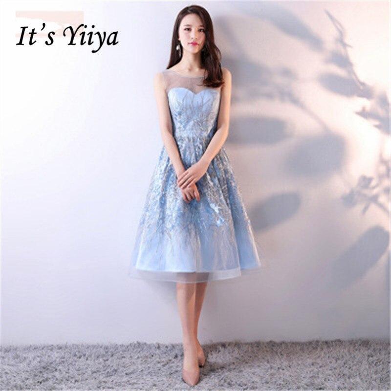 C'est YiiYa nouveau bleu sans manches dos nu dentelle Bling robe de Cocktail à paillettes genou longueur robe formelle robe de soirée MX015