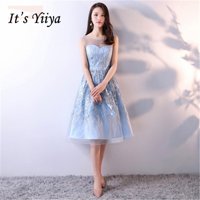 It's YiiYa New Blue Sleeveless Backless Lace Bling Sequined Cocktail Dress Knee Length Formal Dress Party Gown MX015