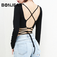 цены на Black Shirt Long Sleeve Crop Top T Shirt Backless Lace Up Bandage Tee Shirt Femme Summer Tops For Women 2019 Sexy Z047  в интернет-магазинах