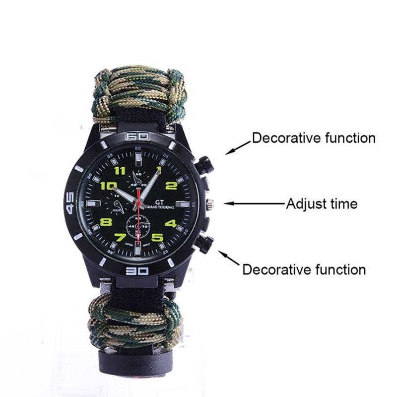 398fa48d961 1  a função Decorativa 2  Ajustar O tempo 3  função Decorativa.  HTB10NynjC3PL1JjSZFxq6ABBVXaO. 6 em 1 ferramenta de sobrevivência  pulseira  de relógio ...