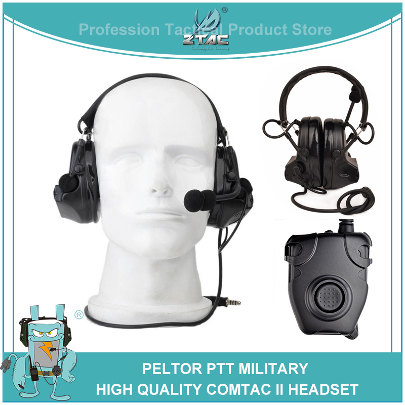 Z-tac Airsoftsports tactical Headphones Peltor Comtac 2/II Military Softair Noise Canceling Headset Z041 With Kenwod PTT Z112