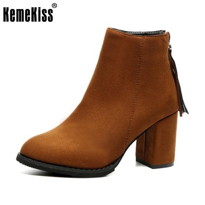 KemeKiss Women Half Short High Heel Boots Tassel Zipper Thick Heels Boot Warm Shoes Fur Short Botas Woman Fotowears Size 35-39