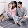 Womens & Mens Algodão Outono Conjunto de Pijama Lazer Manga Comprida Matching Casal Pijamas Amantes Homewear Sleepwear V Pulôver Pescoço