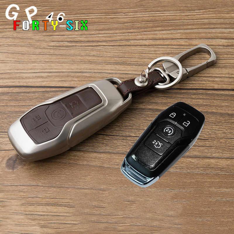 Цинковый сплав кожа 5 кнопочный ключ автомобиля Fob чехол Брелок «Обложка» для Ford Телец Mustang F150 проводник Fusion Mondeo edge LINCOLN МК
