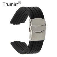 12mm x 22mm boca convexa pulseira de relógio de borracha de silicone fivela de segurança inoxidável correia de pulso pulseira + barra de mola|silicone rubber watchband|rubber watchband|watchband stainless -