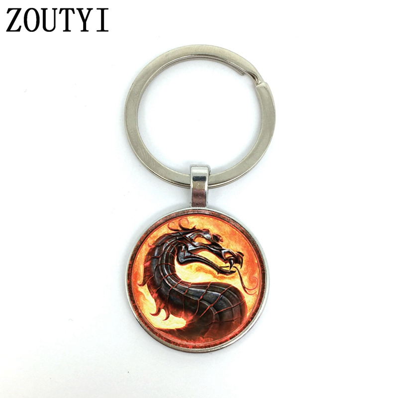 New / Hot, New Charm Mortal Kombat Reality Fast, Men's Key Chain Quality Car Pendant, Convex Glass Key Ring.