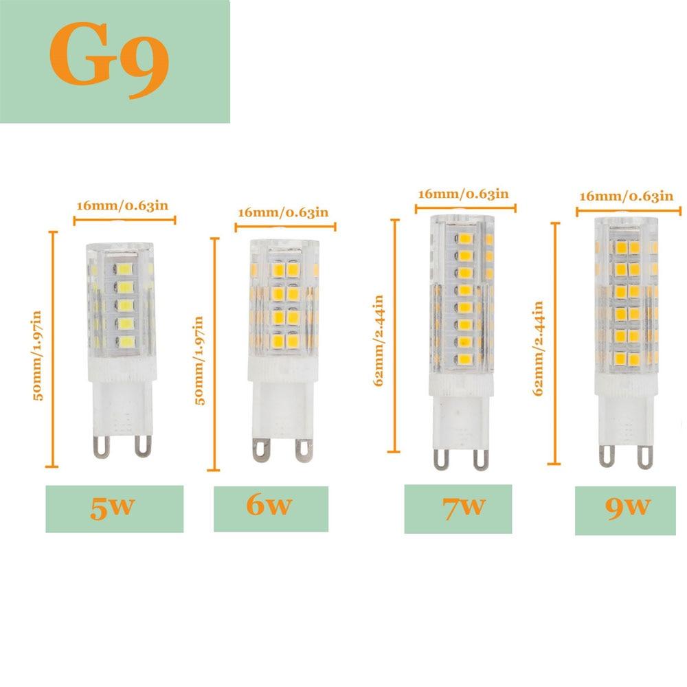 G9 LED Bulb 2835 SMD 5W 6W 7W 9W 51LEDs 75LEDs 220V 230V 240V Corn Lamp LED Spotlight Replace 30w 60w Halogen Chandelier Light