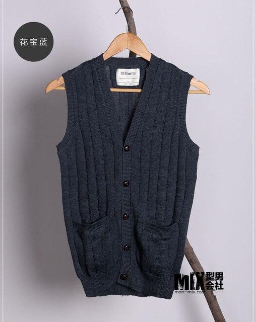 Summer New Men's Slim Vest Casual gilet men wool Vest Waistcoats Mens brand Sleeveless knit vest British style Knitted vest