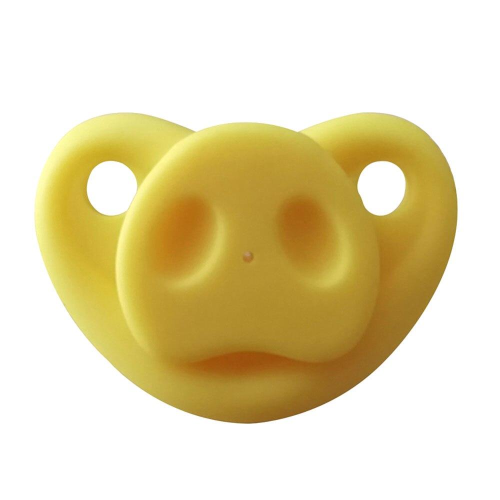 Младенческая Соска-пустышка креативный Мягкий Силиконовый грызунок Свинья Нос подарки шутка малыш - Цвет: yellow