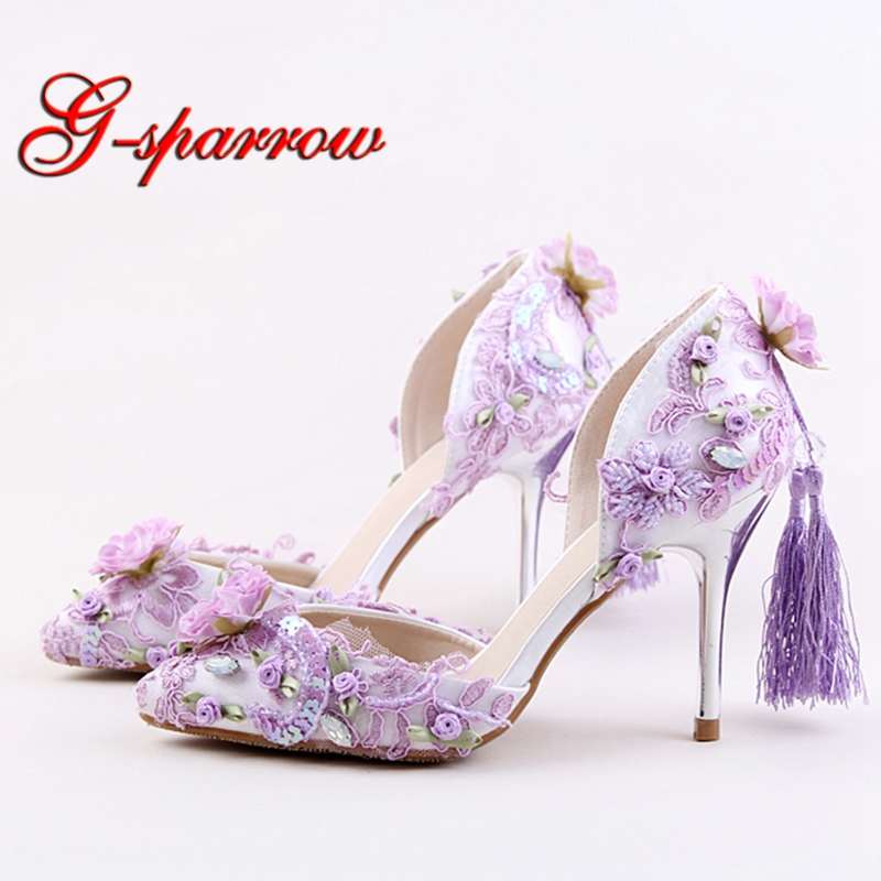 2018 Purple Red Pink Color Beautiful Wedding Shoes Delicate Paillette High Heels Tassel Decoration Party Prom Pumps Pointed Toe