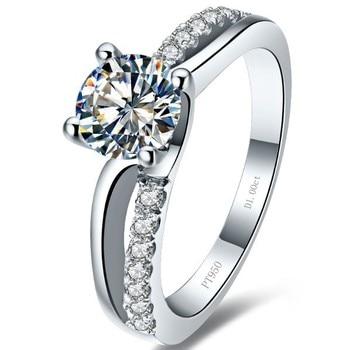 Solid Platinum 1CT Diamond Engagement Ring  1