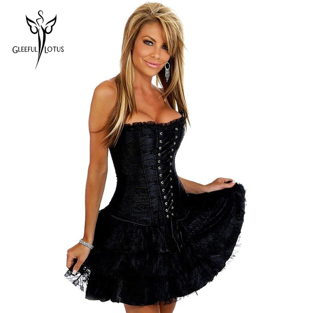80a21d21681df Black Sexy Gothic Steampunk Corsets Dress Waist Trainer Corsets And  Bustiers Espartilho Waist Cincher Corset Skirt For Women