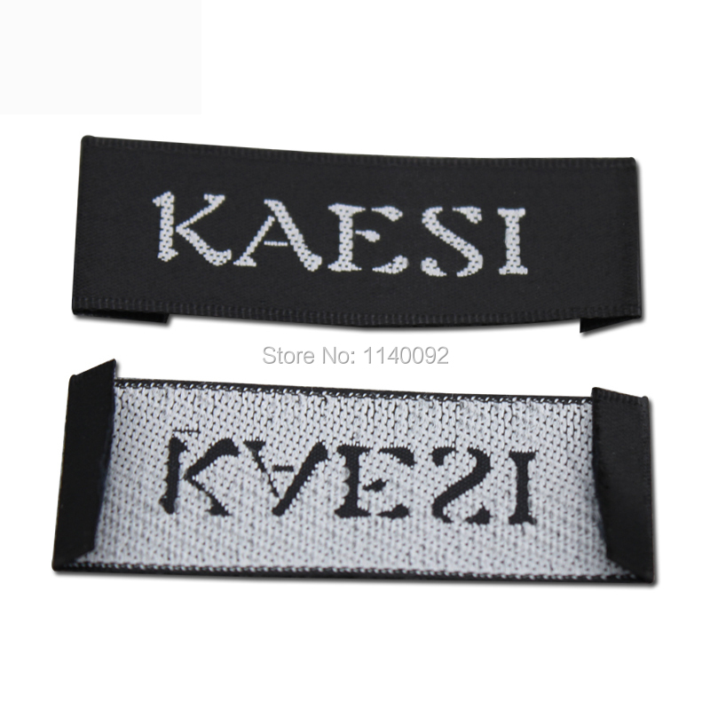 free shipping customized black satin clothing woven label garment tags printing main label custom collar labels 1000 pcs a lot in Garment Labels from Home Garden