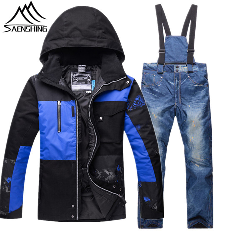 Saenshing New Ski Suits for Men Jacket Pants Waterproof Breathable Snowboarding Snow Male Warm Outdoor Sports Sets