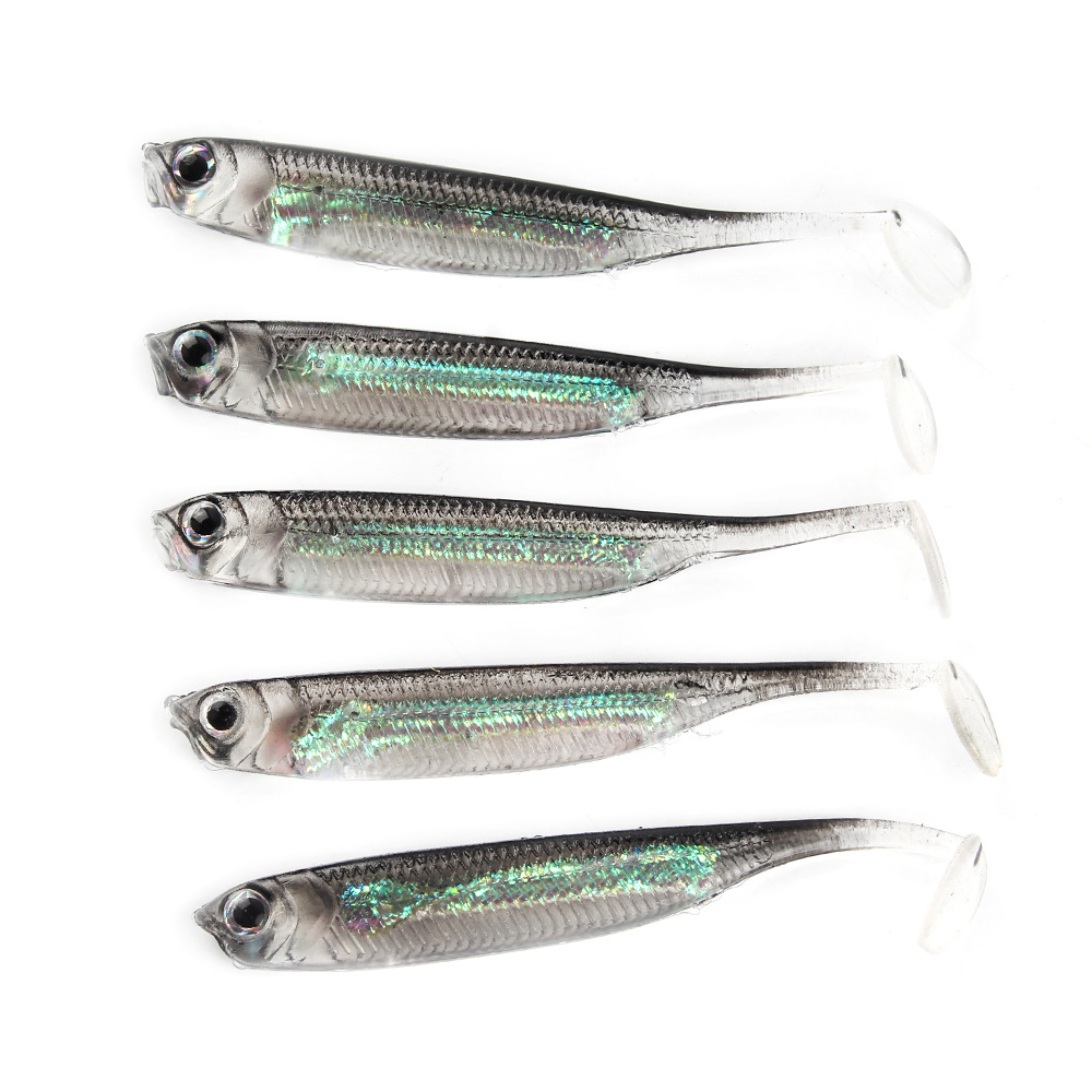 5Pcs/lot Fishing Soft Bait 7CM 7.5CM 1.7G 2.3G 2.7G T Tail fish Fishing Lures Rainbow Color Sequin Swing Fishing Spinner Bait