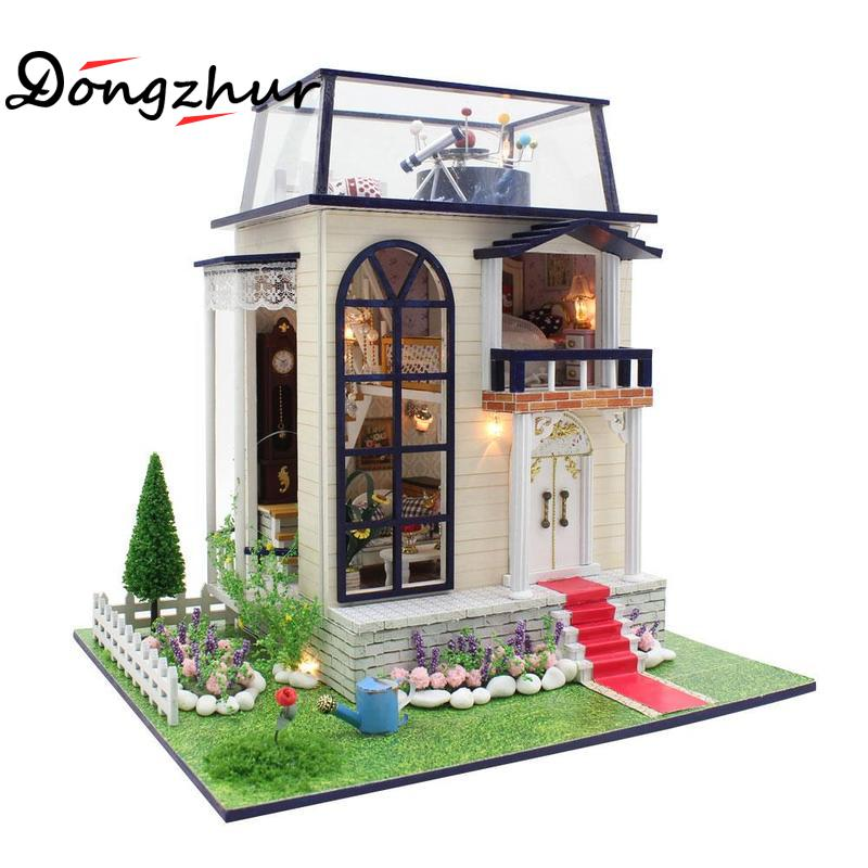 Dongzhur Miniature 1:24 Dollhouse Wooden Toy House Kids Toy Gifts New Brand DIY Doll Houses Furniture Wooden Dollhouse Unisex 3D сумка wooden houses w287 2014