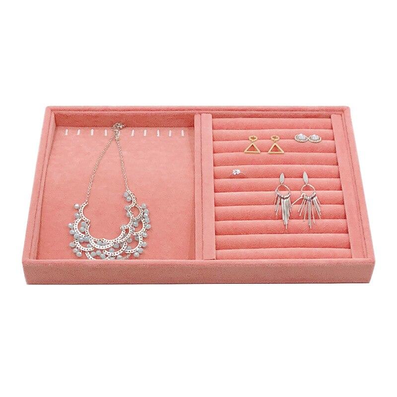 Velvet Ring Earrings Display Tray Slot Fashion Jewelry Cufflinks Organizer Holder Case Box Showcase Ring Earring Jewelry Display