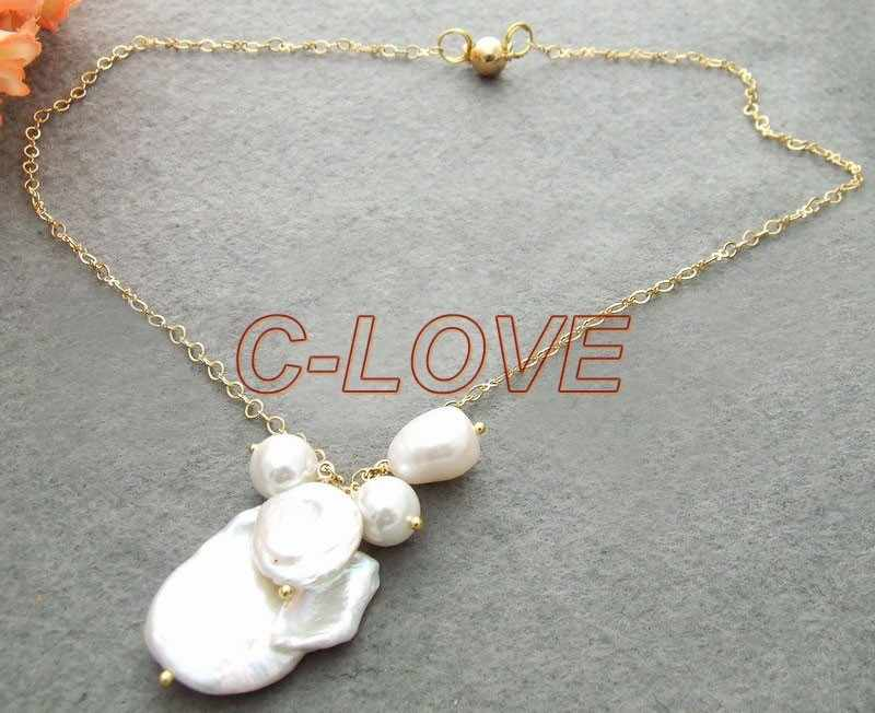 Collar de perlas Keshi de 30MM