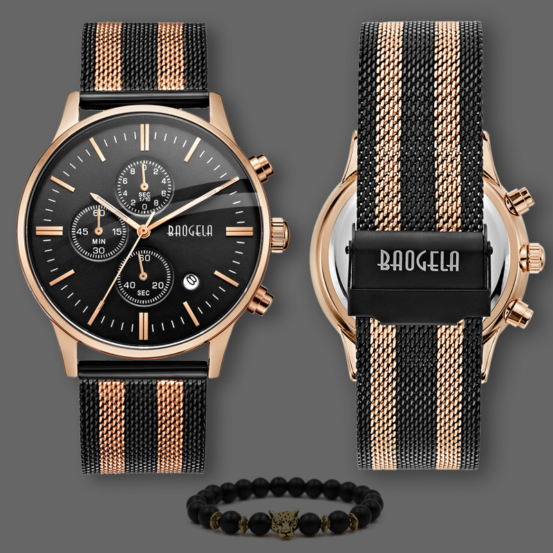 Full Stainless Steel Black Rose Gold Watch Relogio Masculino Luxury Brand Analog Sports Wristwatch Quartz Business Watch Men agentx brand auto day display rose gold stainless steel case tag heuerwatch wristwatch men business quartz men watch agx042