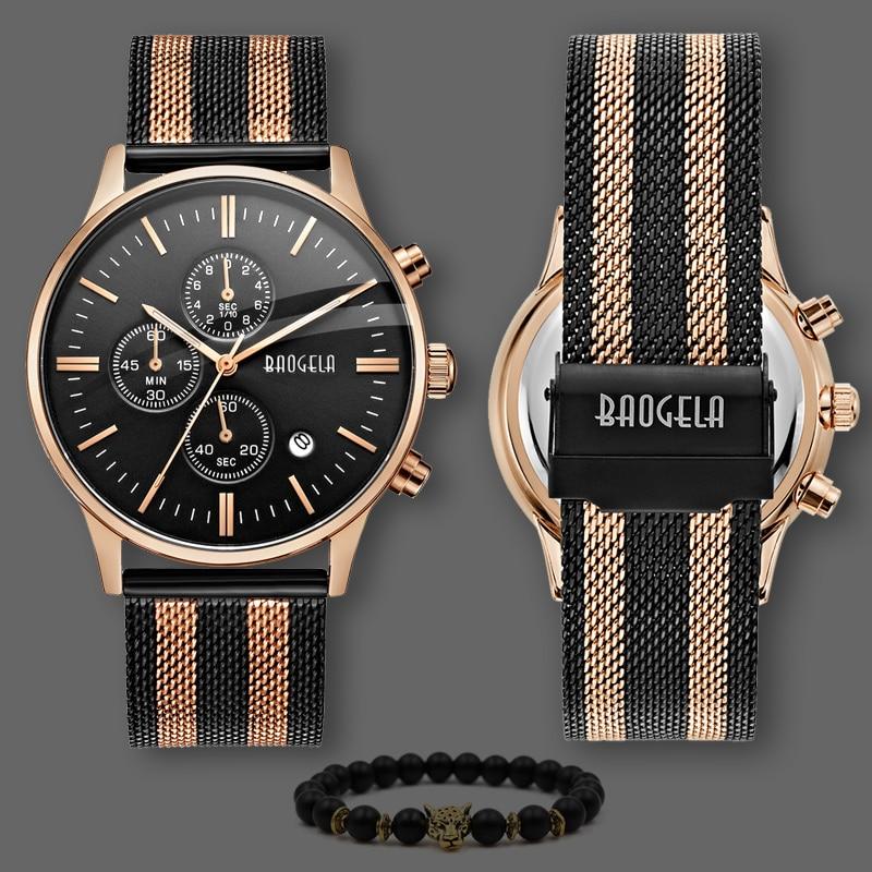 Voller Edelstahl Schwarz Rose Gold Uhr Relogio Masculino Luxus Marke Analog Sports Armbanduhr Quarz Business Watch Männer