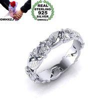 OMHXZJ,, Европейская мода, женские, мужские, вечерние, свадебные, подарок, белые, полые цветы, листья, 925 пробы, серебряное кольцо, RR175