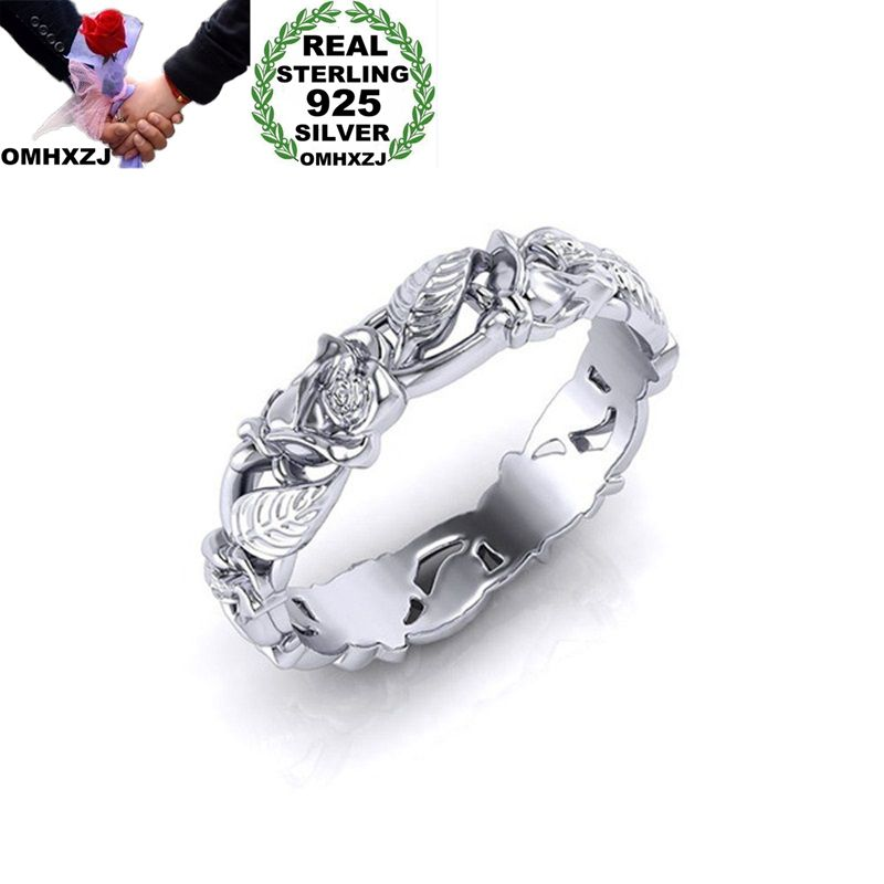 OMHXZJ Wholesale European Fashion Woman Man Party Wedding Gift White Hollow Flower Leaves  925 Sterling Silver Ring RR175