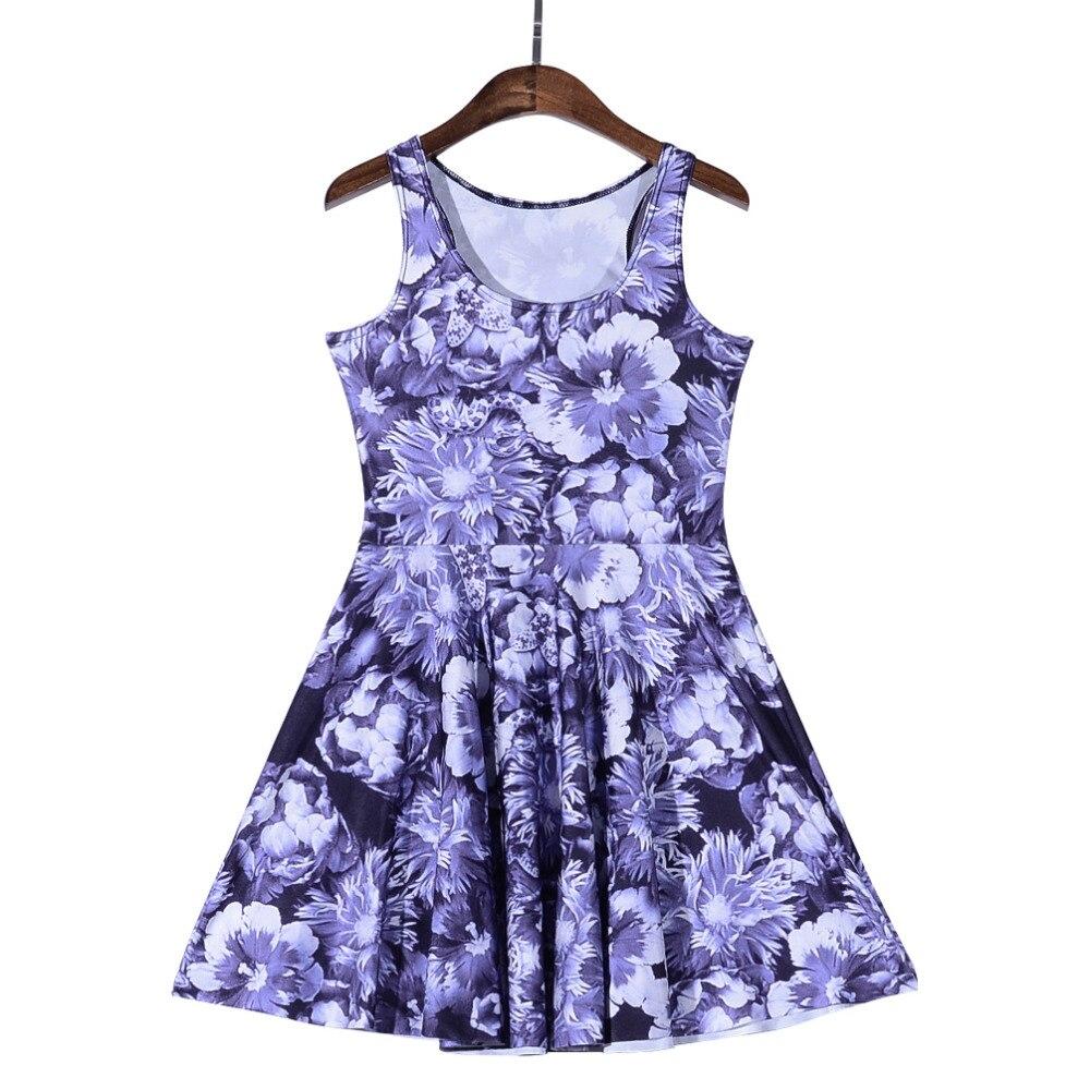 ᐃLas mujeres vestido de impresión digital Purple margaritas piedra ...