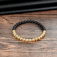 Фотография LIVVY 2018 Fashionable natural stone bracelet with gold and black 6mm copper ball volcanic stone pearl jewelry AS234