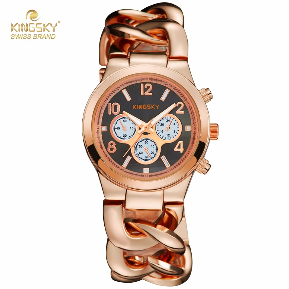 Women Dress Business Watches Brand Famous KINGSKY Quartz Watch Full Steel Wristwatches Fashion Reloj Mujer Ladies Watch 2017 New 2016 weiqin famous brand business women watch 5 atm leather strap analog calendar function female quartz watch reloj mujer