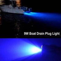 1X Blue Led Drain Plug Light 9W Underwater Boat Marine Yacht Transom Fishing Diving
