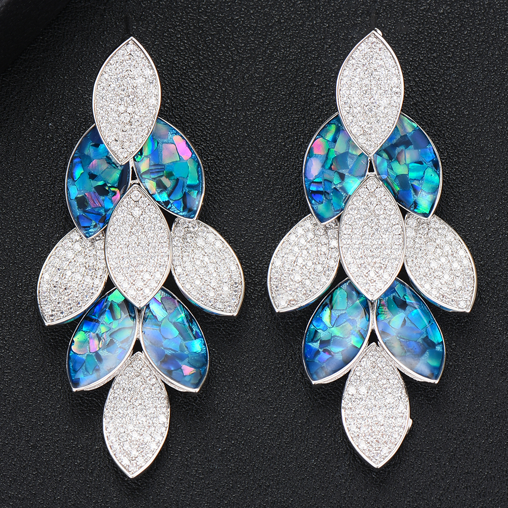 Siscathy Hot New Charms Statement Peacock Abalone Shell Big Drop Earrings For Women Wedding Dubai Bride Engagement Earrings 2019 in Drop Earrings from Jewelry Accessories