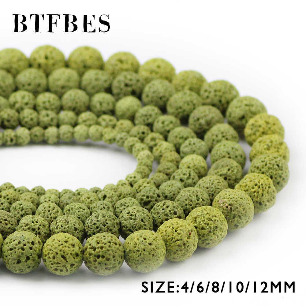 BTFBES AAA натуральный камень оливково-зеленые бусы из лавы 4 6 8 10 12 мм круглые бусины из вулканической породы для изготовления ювелирных изделий