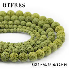 BTFBES AAA Natural Stone Olive Green Lava Beads 4 6 8 10 12mm Round Volcanic Rock Loose For Jewelry Bracelet Making DIY