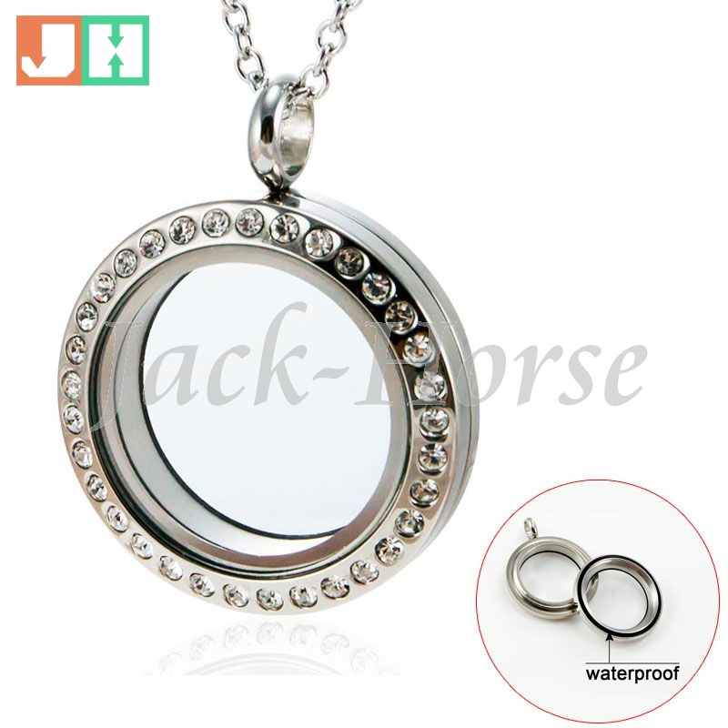 20 25 30mm Size Stainless steel crystal Water Proof twist living floating charm locket glass locket