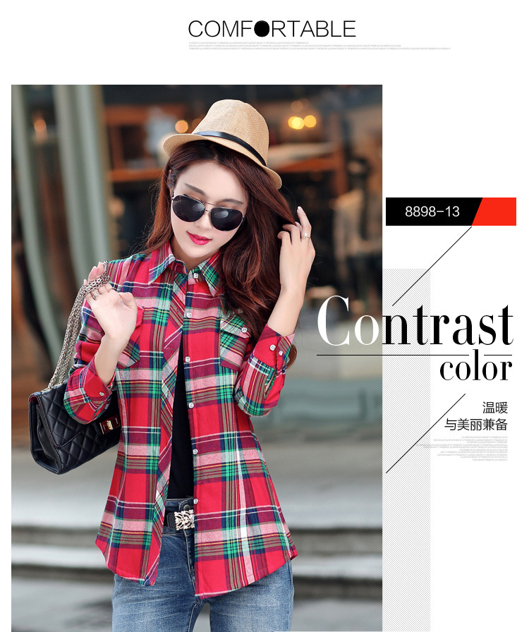 19 Brand New Winter Warm Women Velvet Thicker Jacket Plaid Shirt Style Coat Female College Style Casual Jacket Outerwear 26