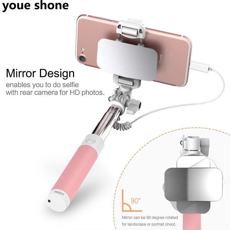 youe shone mirror Wired Selfie Stick Handheld Monopod Selfie sopa bastone selfy stik Vara de selfie for iphone 7 6 6s Plus 5 5s led flash fill light selfie stick lighting bluetooth monopod with rear mirror for iphone 7 6 6s plus 5 5s se 4 4s android phones