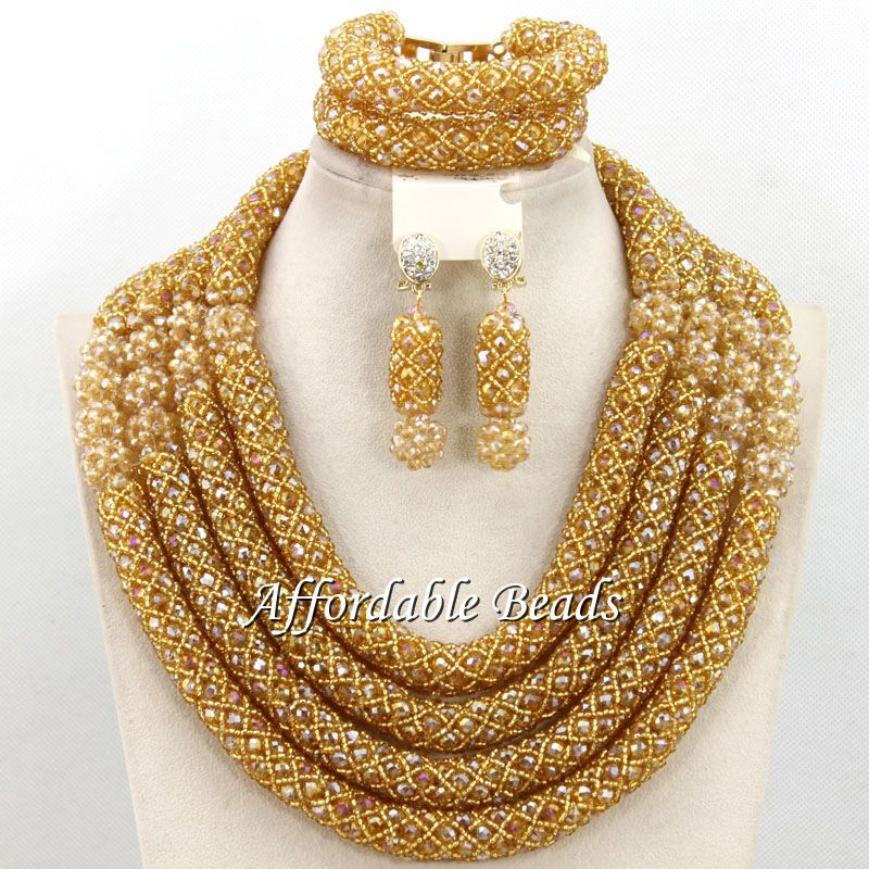 Hot Dubai Gold Jewelry Set Nice African Jewelry Set Handmade Design