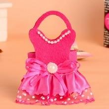 ¡Novedad! caja de dulces rosa y roja para boda, bolsa de regalo con diseño de vestir para boda, 24 Uds.