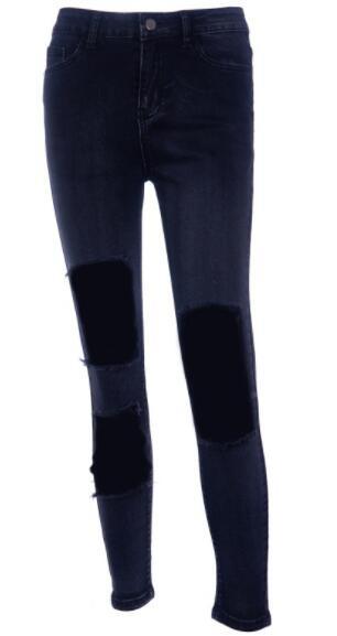 De Vertical Mujeres Ribete Negro Pantalones Otoño Dv192 Lápiz Agujero Mujer Alta Las Elástico Cintura Highstreet IwUAx