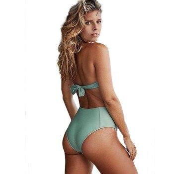 S-XXL Plus Size Swimwear High Waist Swimsuit Two Pieces Bikini Set Push Up Swimsuits 2019 Swim Wear Female Halter Bathing Suit