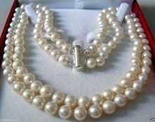 非常に良い天然ダブルストランド8-9ミリメートルakoya海水真珠ネックレスaaa珍しい14 kゴールドメッキ細かい女性ジュエリー送料shippi