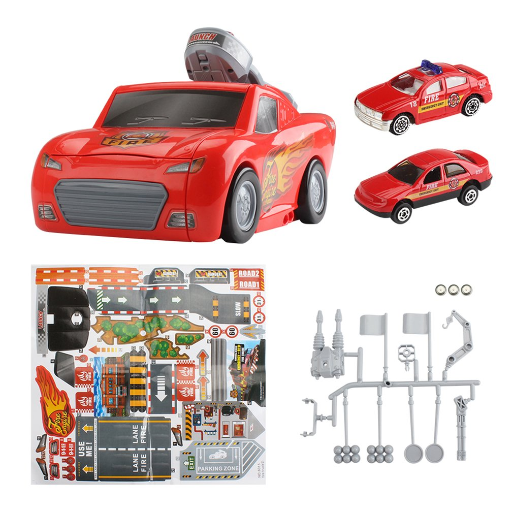 Children's Toy Catapult Battle Container City Truck w/ Music & Light Storage Box 2 Sliding Small Alloy Car Model Toys